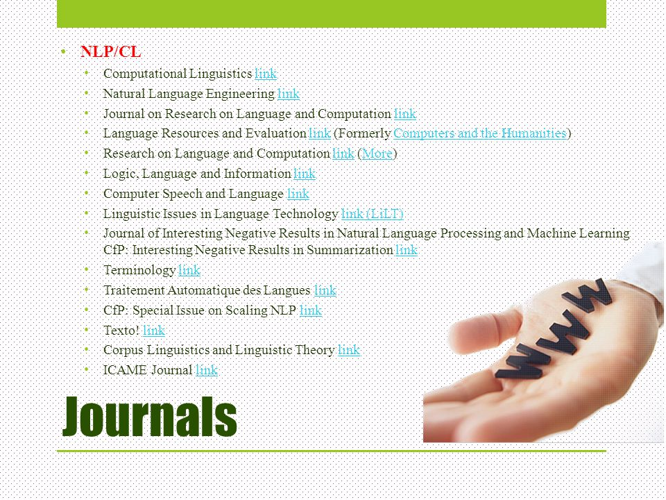 Journals NLP/CL Computational Linguistics link