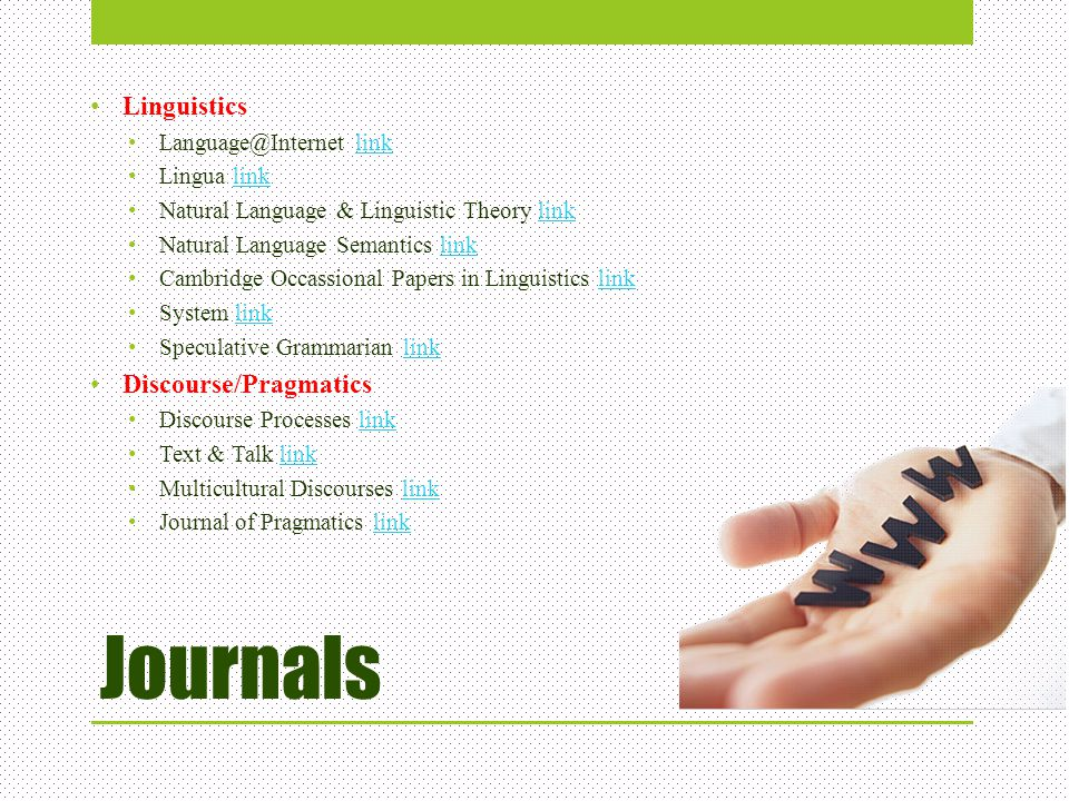 Journals Linguistics Discourse/Pragmatics Language@Internet link