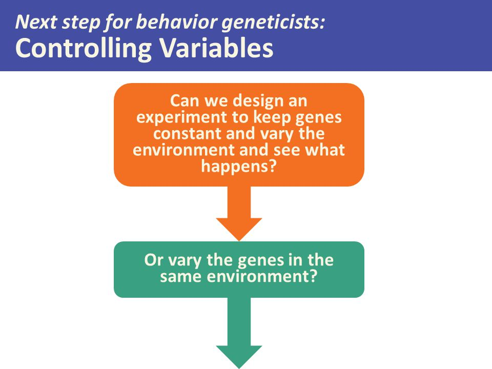 Next step for behavior geneticists: Controlling Variables