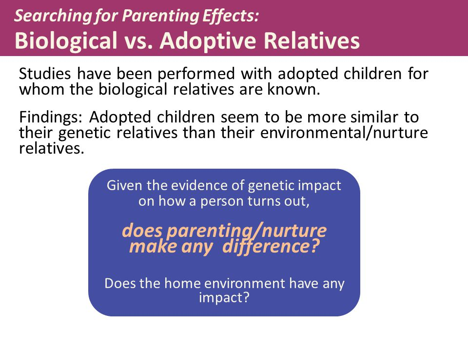 Searching for Parenting Effects: Biological vs. Adoptive Relatives