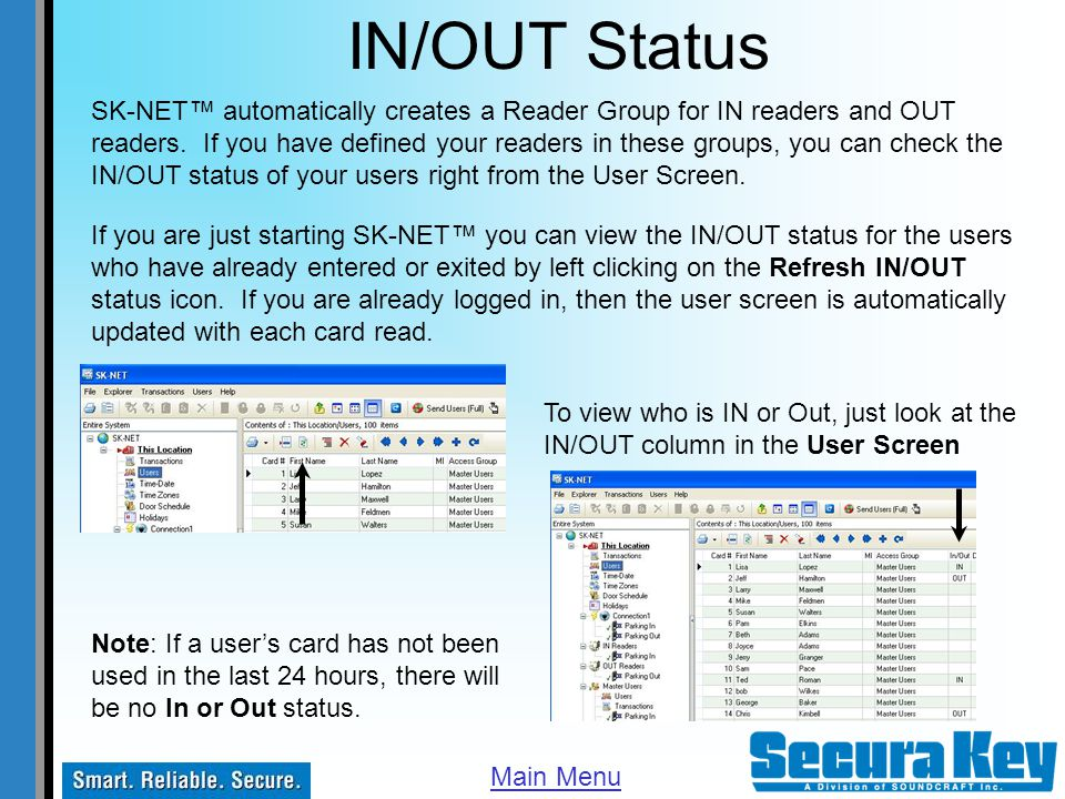 IN/OUT Status