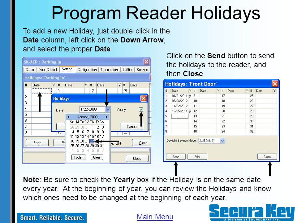 Program Reader Holidays
