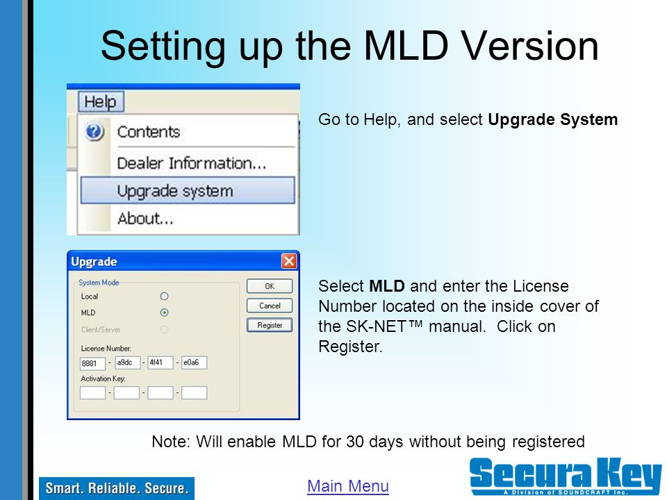 Setting up the MLD Version