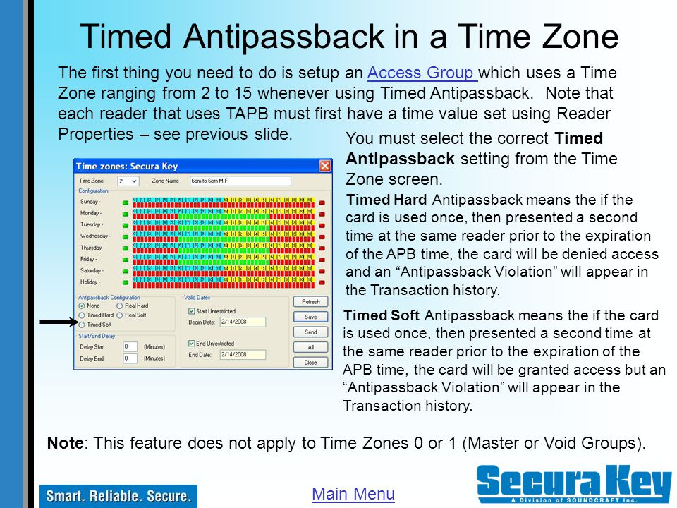 Timed Antipassback in a Time Zone