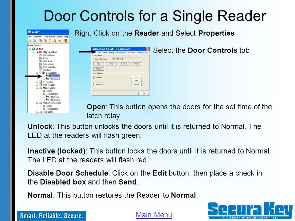 Door Controls for a Single Reader