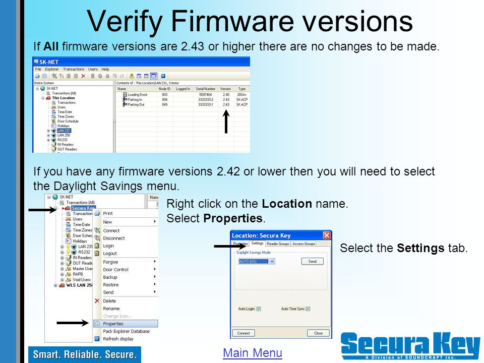 Verify Firmware versions