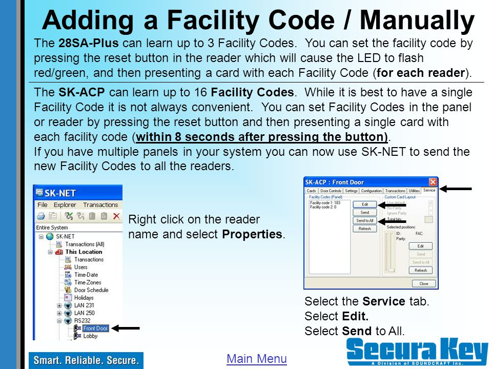 Adding a Facility Code / Manually