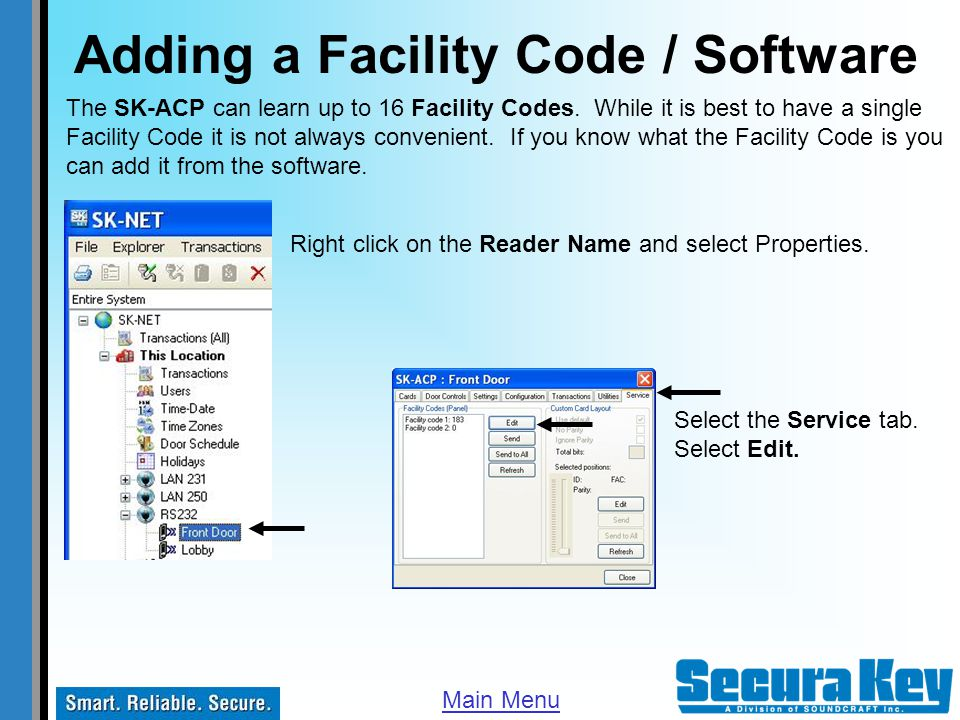 Adding a Facility Code / Software
