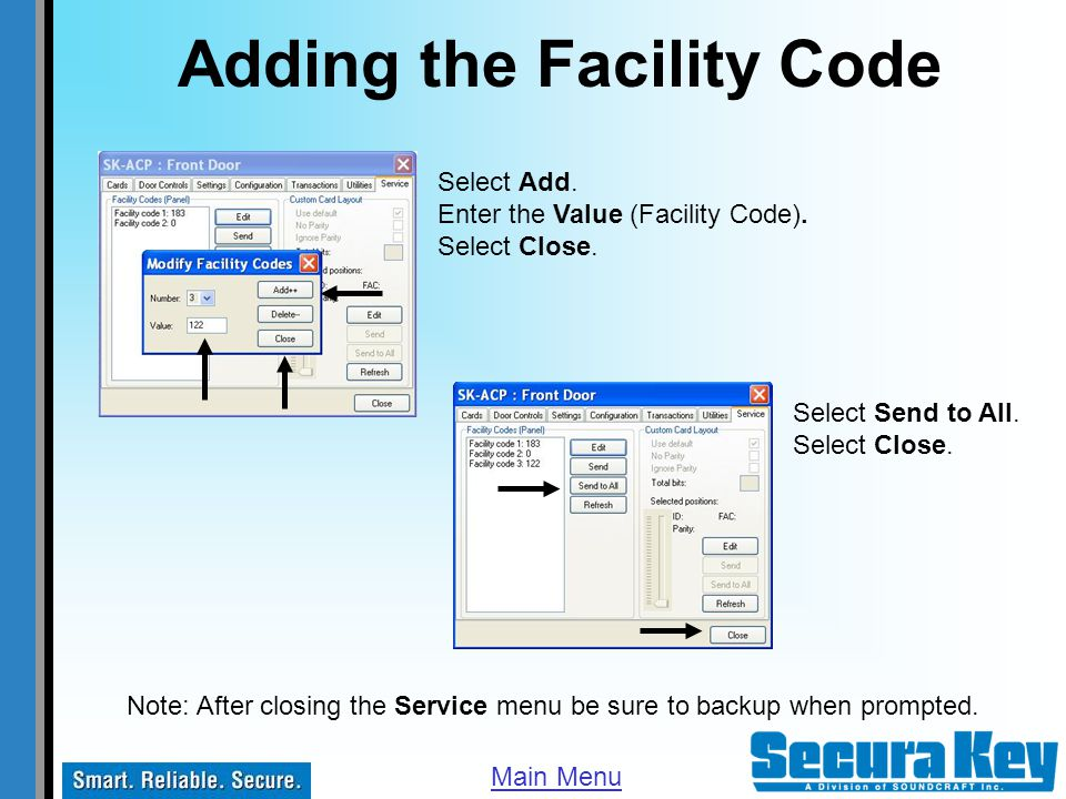 Adding the Facility Code