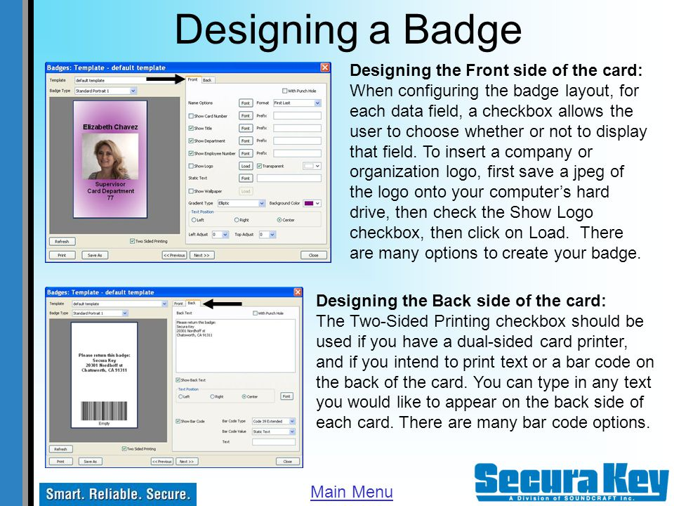 Designing a Badge Designing the Front side of the card: