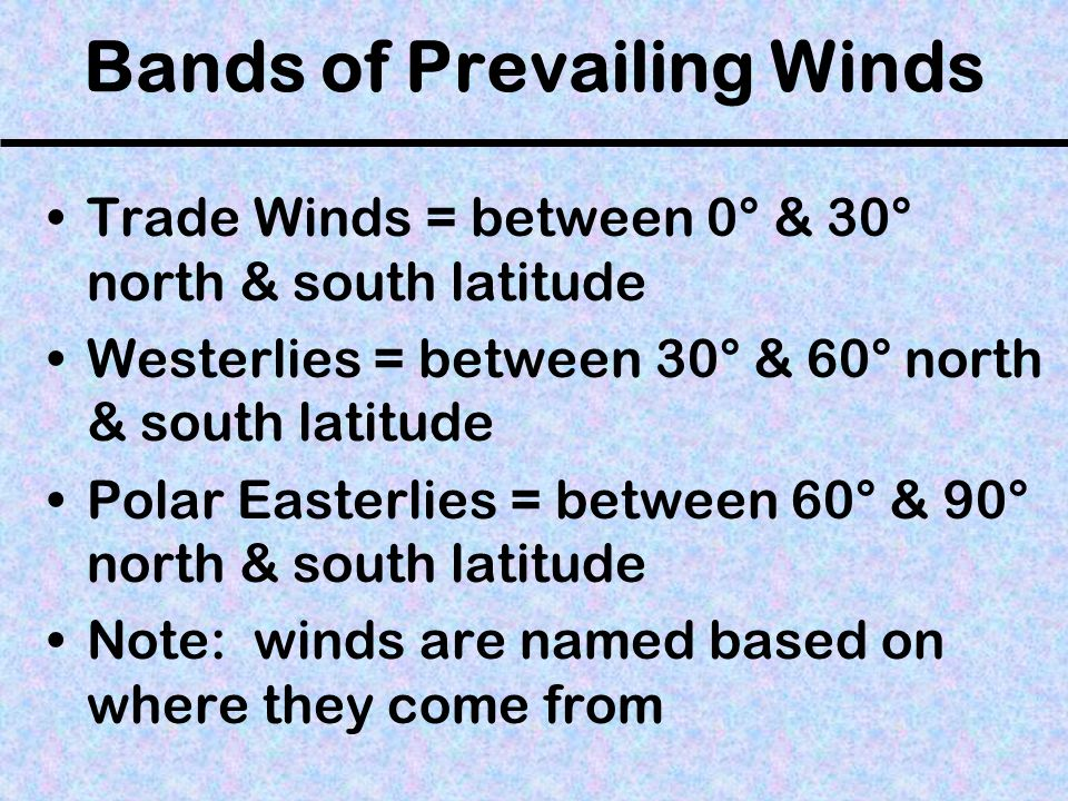 Bands of Prevailing Winds
