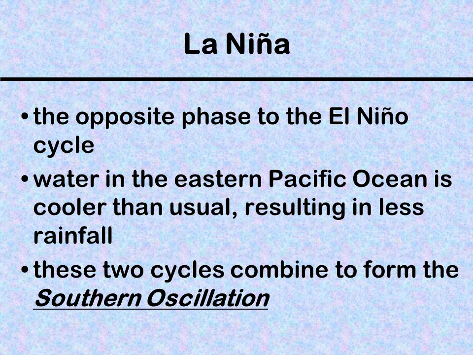 La Niña the opposite phase to the El Niño cycle