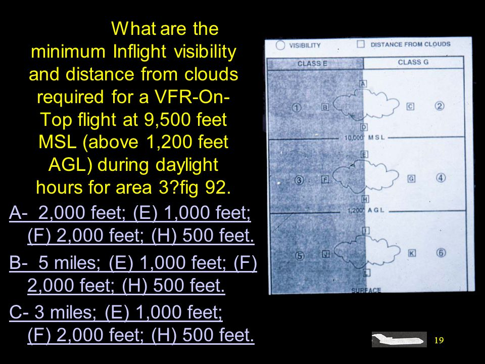 #4520. What are the minimum Inflight visibility and distance from clouds required for a VFR-On-Top flight at 9,500 feet MSL (above 1,200 feet AGL) during daylight hours for area 3 fig 92.
