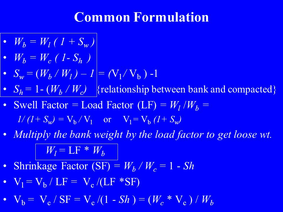Common Formulation Wb = Wl ( 1 + Sw ) Wb = Wc ( 1- Sh )