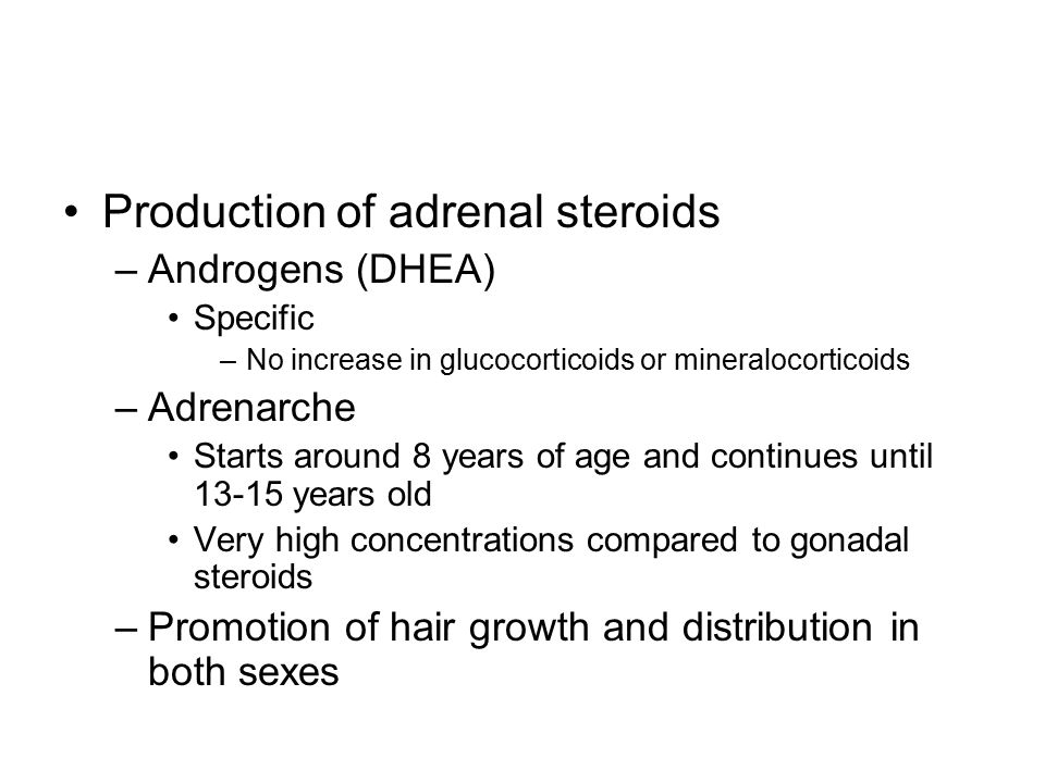 Production of adrenal steroids