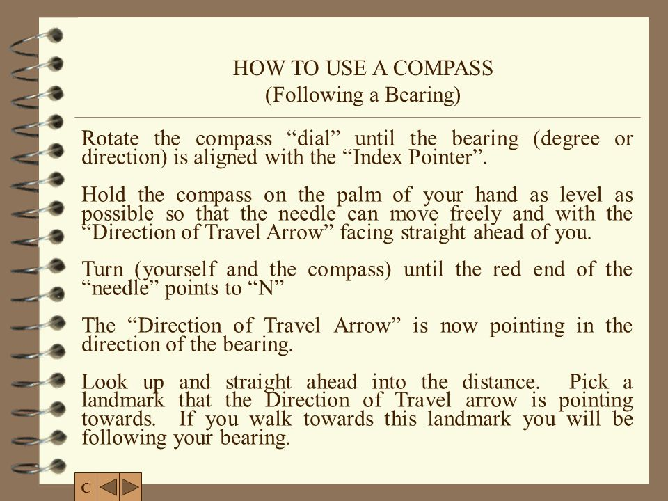 HOW TO USE A COMPASS (Following a Bearing)