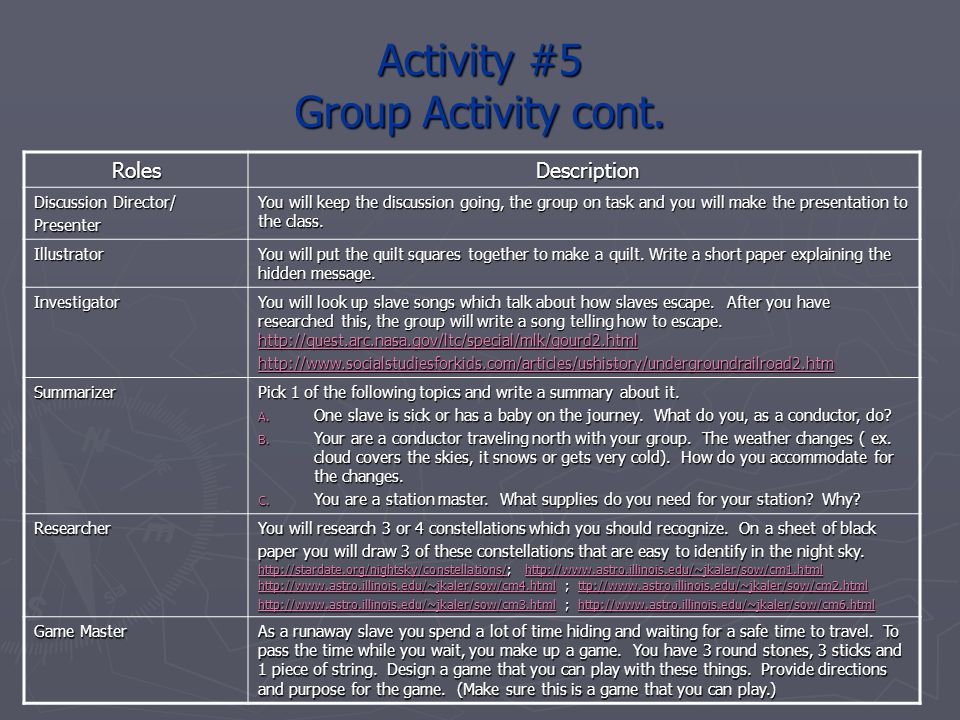 Activity #5 Group Activity cont.