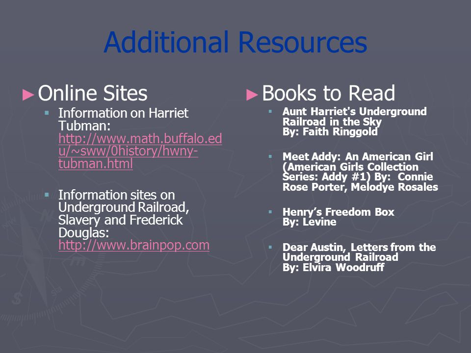 Additional Resources Online Sites Books to Read