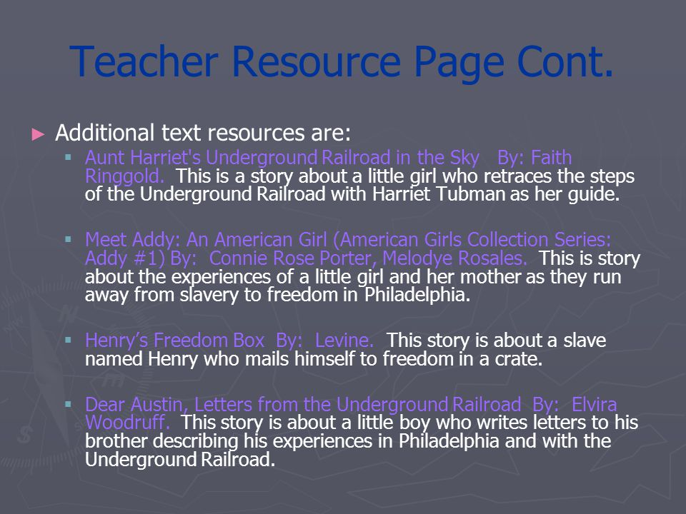 Teacher Resource Page Cont.