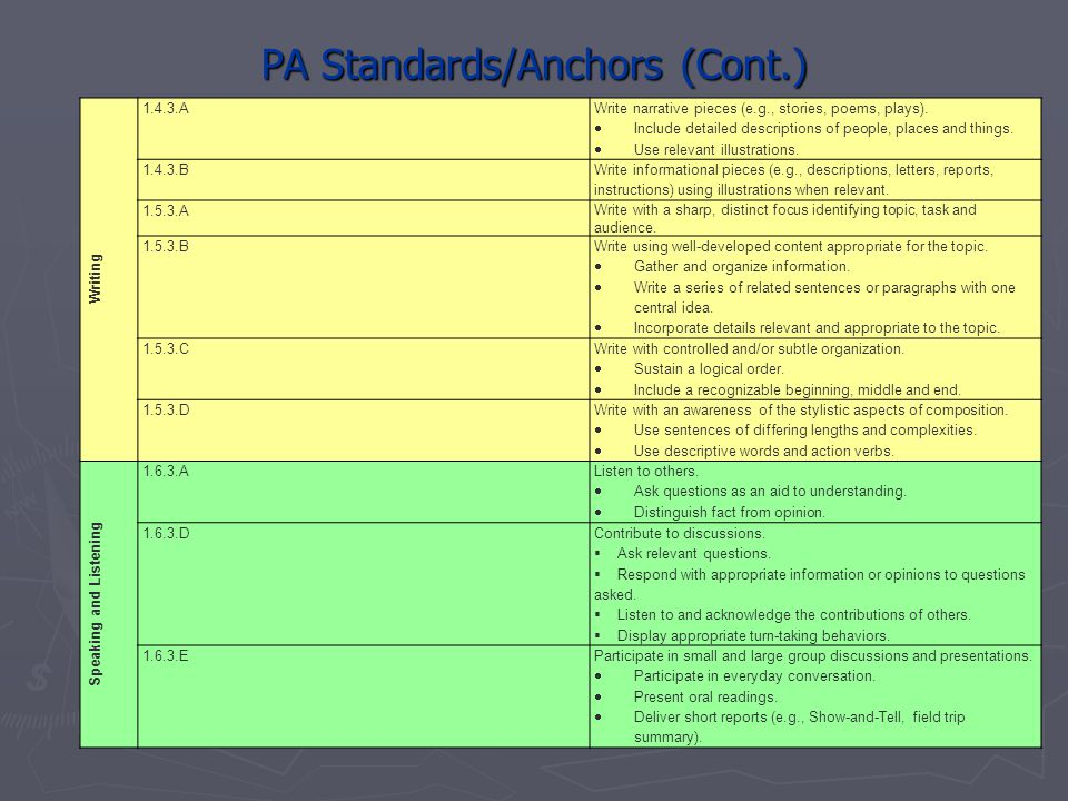 PA Standards/Anchors (Cont.)