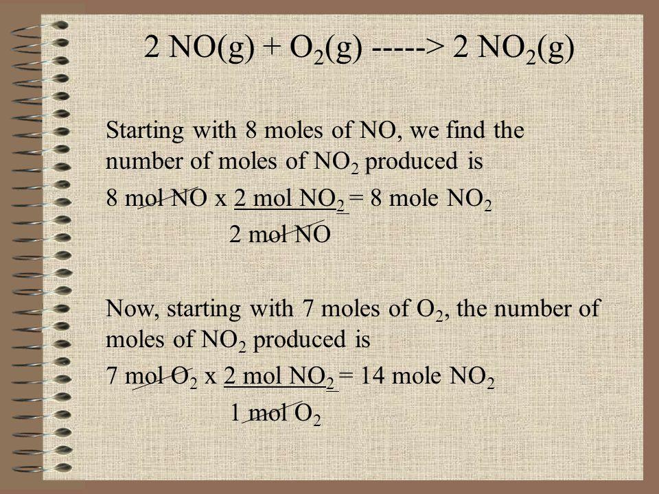 2 NO(g) + O2(g) -----> 2 NO2(g)