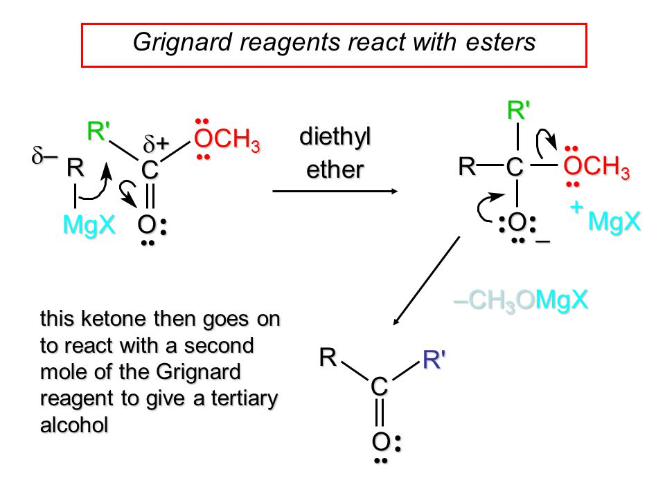 Grignard reagents react with esters