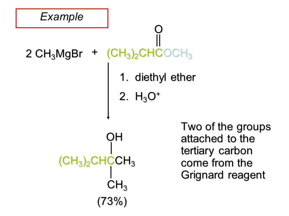 Example O + 2 CH3MgBr (CH3)2CHCOCH3 1. diethyl ether 2. H3O+