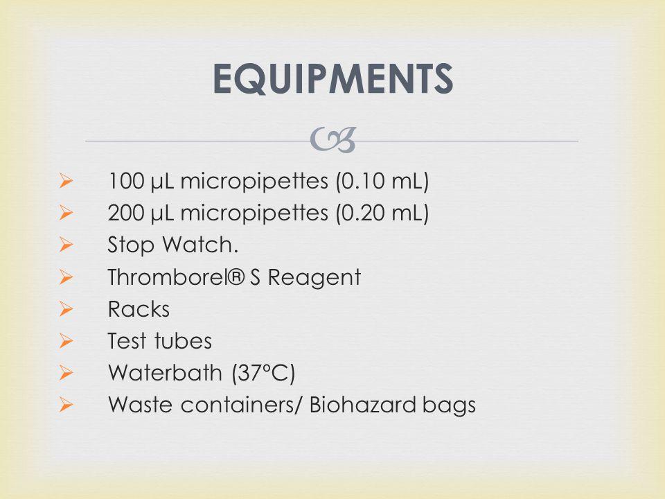 EQUIPMENTS 100 μL micropipettes (0.10 mL)