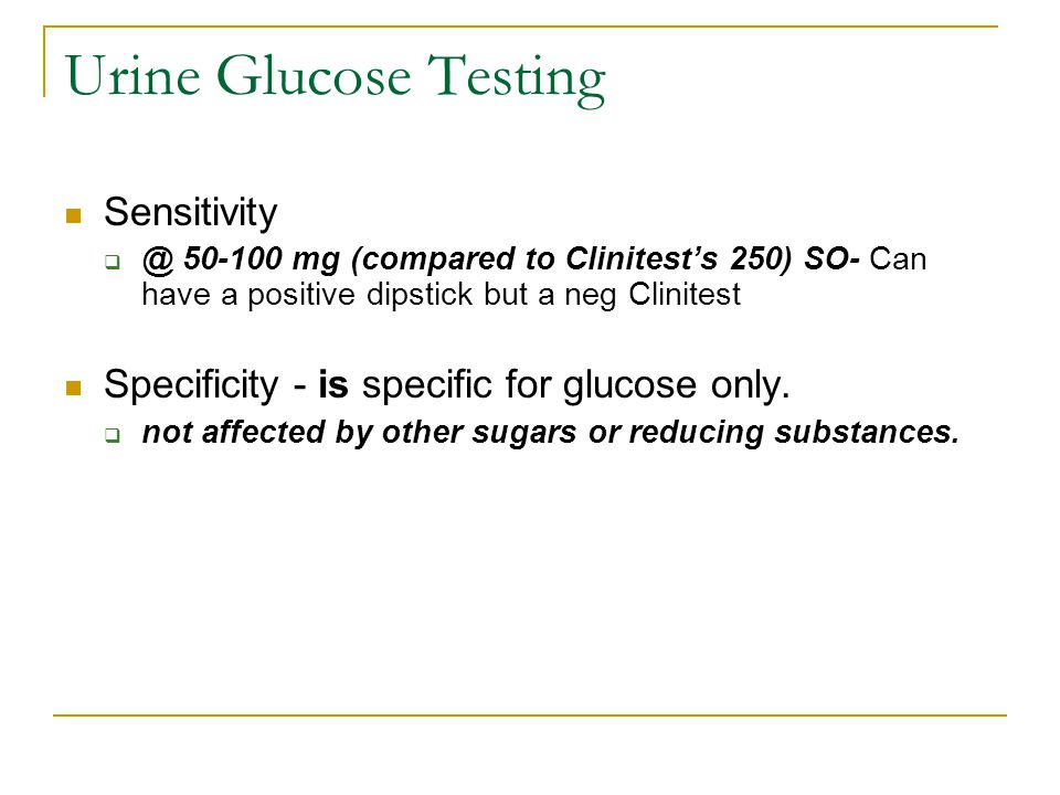 Urine Glucose Testing Sensitivity