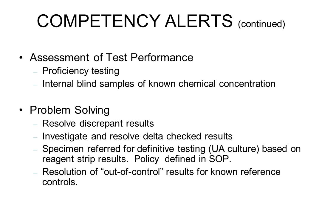COMPETENCY ALERTS (continued)
