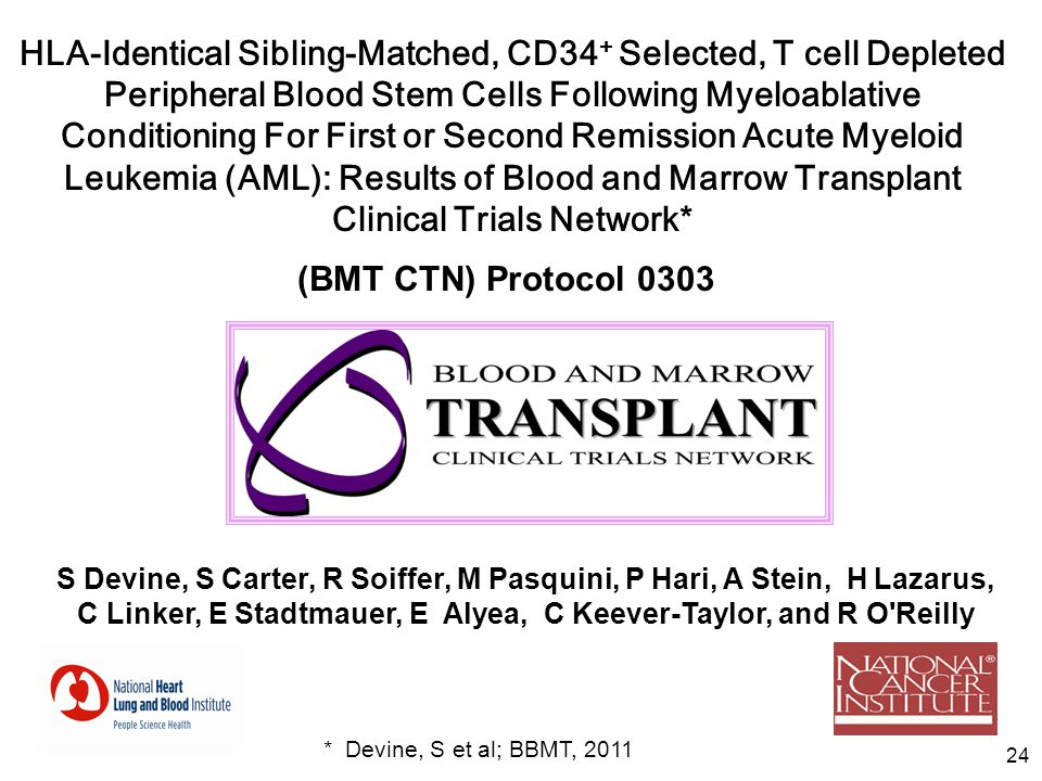 HLA-Identical Sibling-Matched, CD34+ Selected, T cell Depleted Peripheral Blood Stem Cells Following Myeloablative Conditioning For First or Second Remission Acute Myeloid Leukemia (AML): Results of Blood and Marrow Transplant Clinical Trials Network*