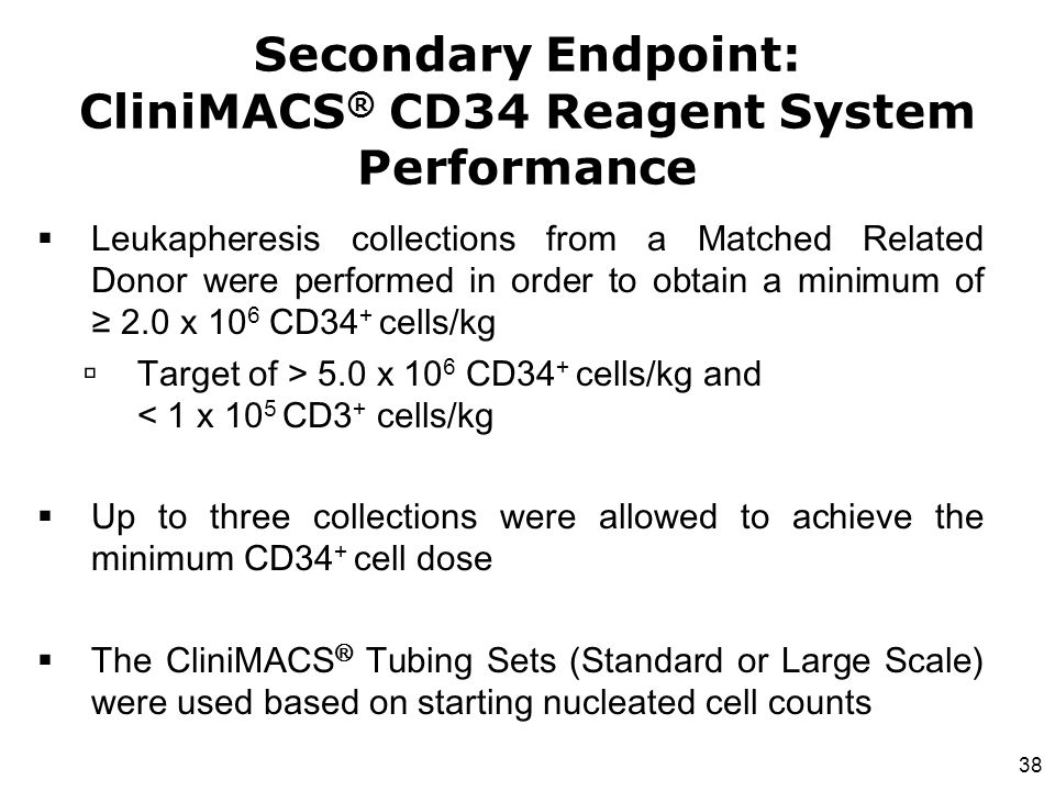 Secondary Endpoint: CliniMACS® CD34 Reagent System Performance