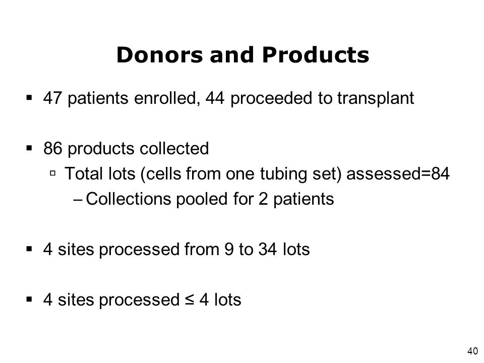 Donors and Products 47 patients enrolled, 44 proceeded to transplant