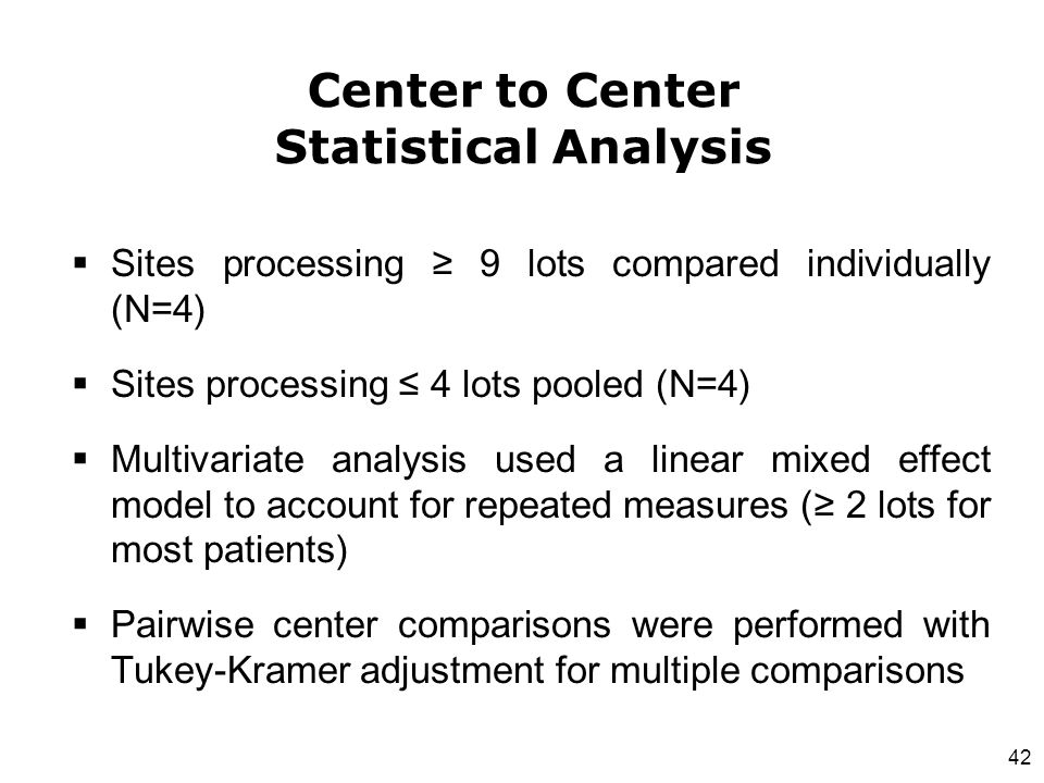 Center to Center Statistical Analysis