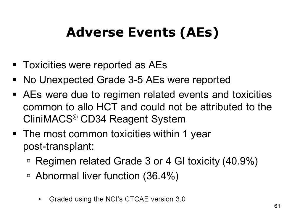 Adverse Events (AEs) Toxicities were reported as AEs