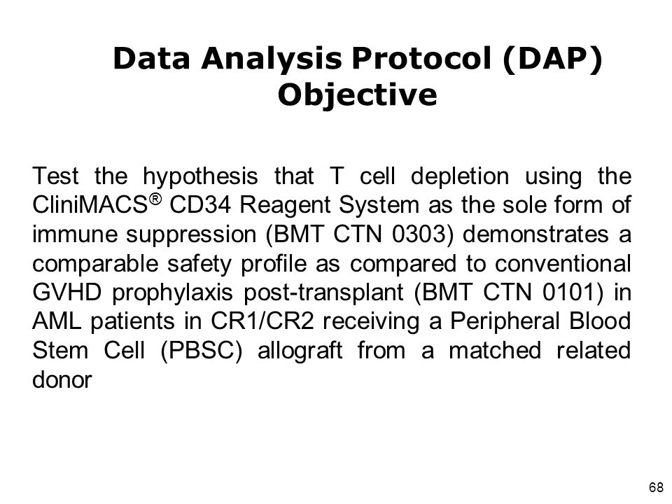Data Analysis Protocol (DAP) Objective