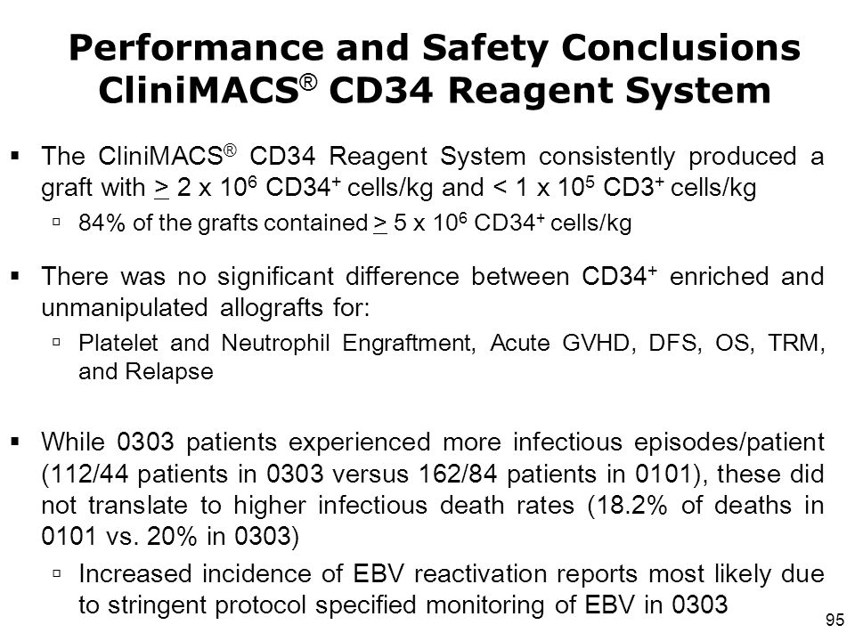 Performance and Safety Conclusions CliniMACS® CD34 Reagent System