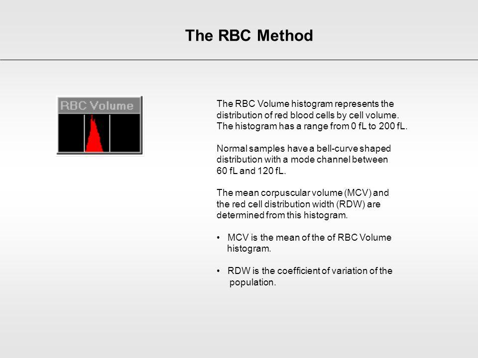 The RBC Method The RBC Volume histogram represents the