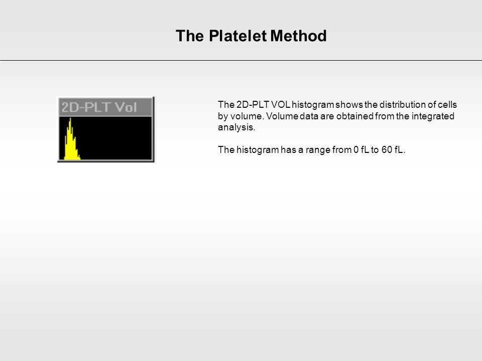 The Platelet Method The 2D-PLT VOL histogram shows the distribution of cells by volume. Volume data are obtained from the integrated analysis.