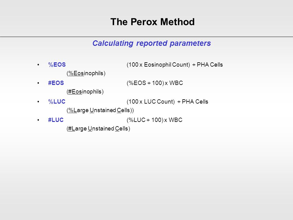 Calculating reported parameters