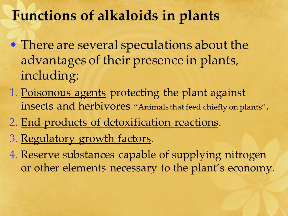 Functions of alkaloids in plants