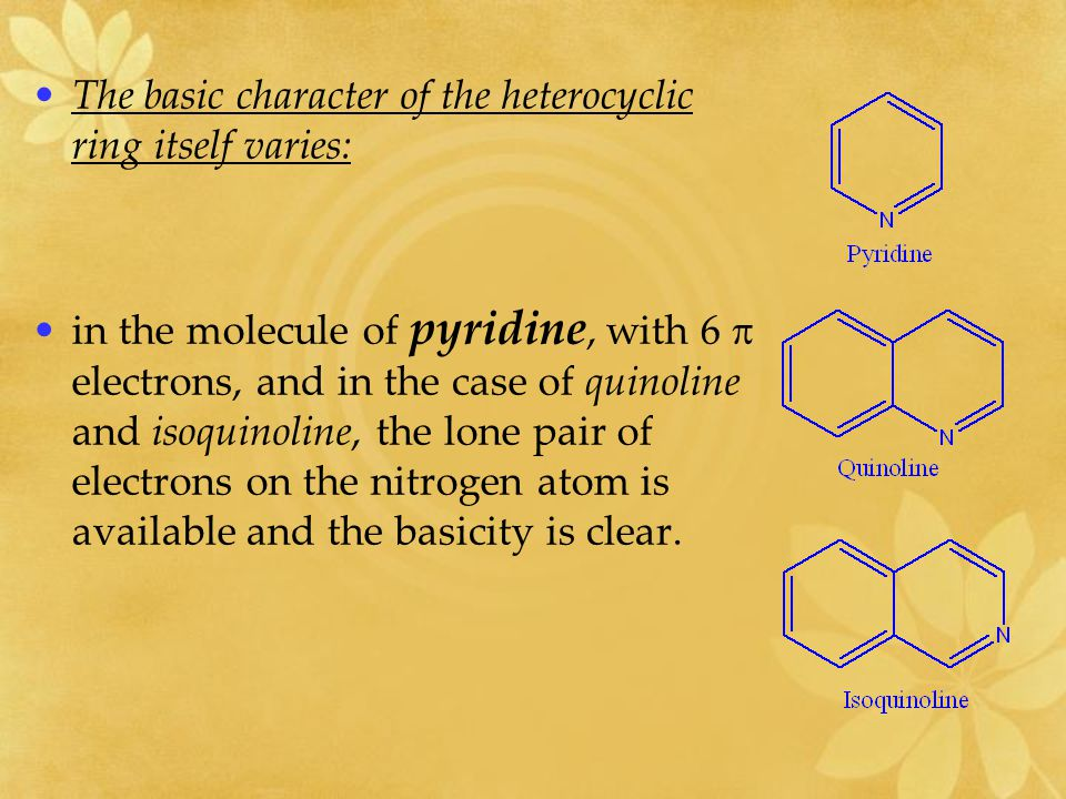 The basic character of the heterocyclic ring itself varies: