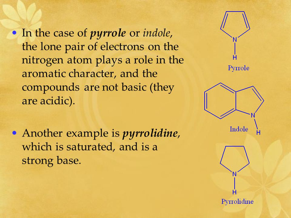 In the case of pyrrole or indole, the lone pair of electrons on the nitrogen atom plays a role in the aromatic character, and the compounds are not basic (they are acidic).