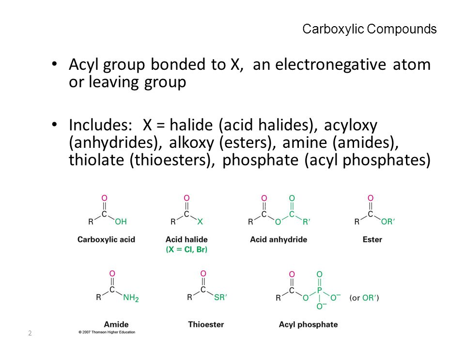 Acyl group bonded to X, an electronegative atom or leaving group