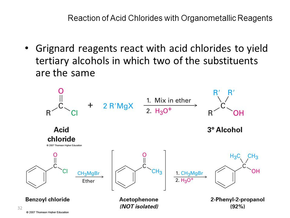 Reaction of Acid Chlorides with Organometallic Reagents