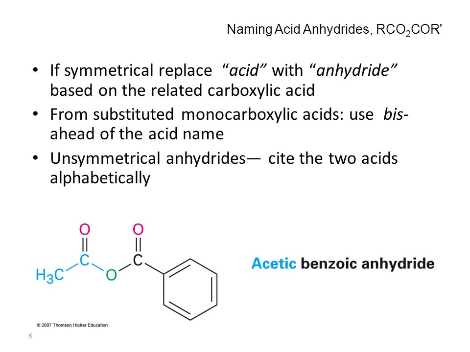 Naming Acid Anhydrides, RCO2COR