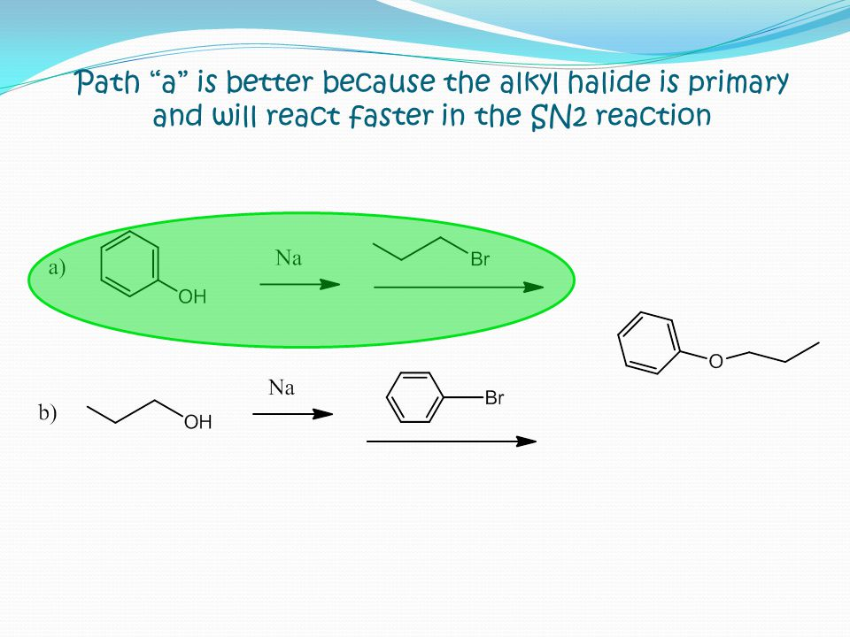 Path a is better because the alkyl halide is primary and will react faster in the SN2 reaction
