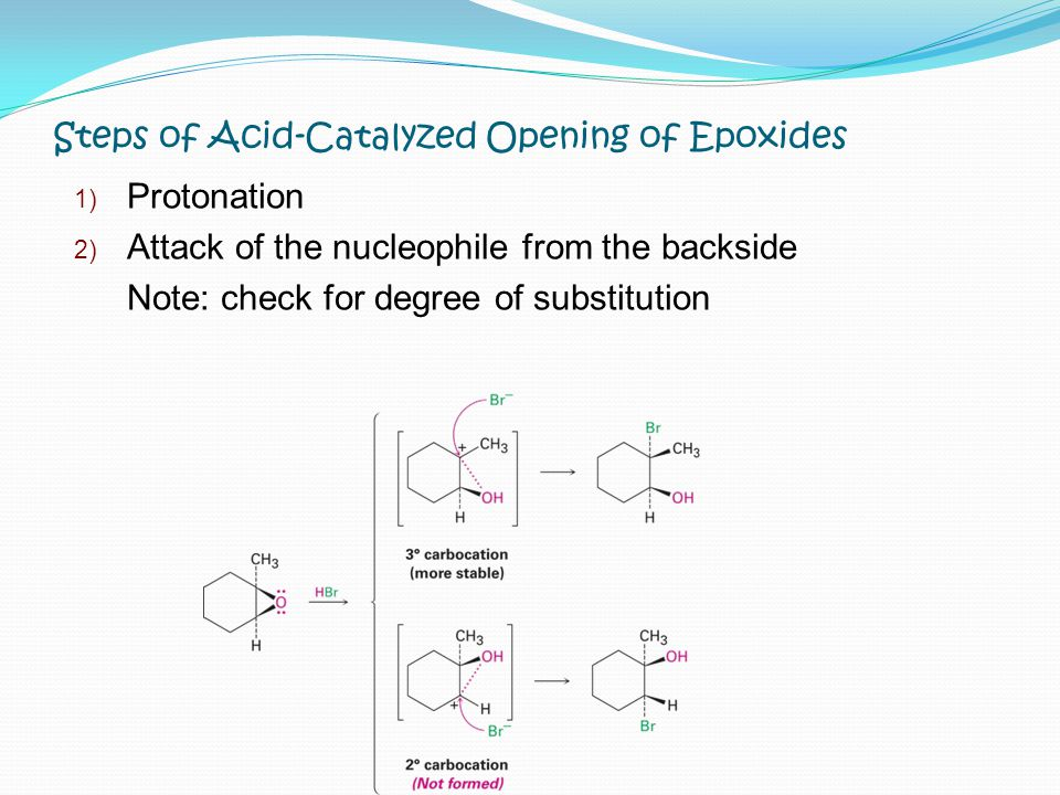 Steps of Acid-Catalyzed Opening of Epoxides