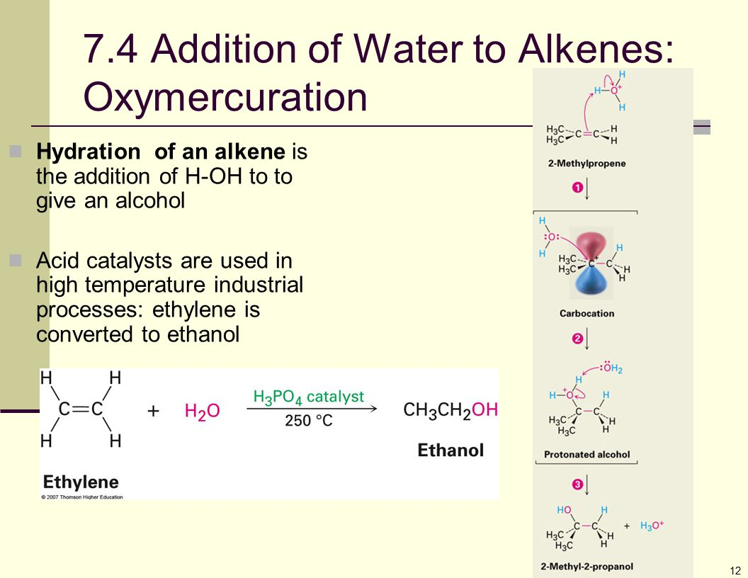 7.4 Addition of Water to Alkenes: Oxymercuration