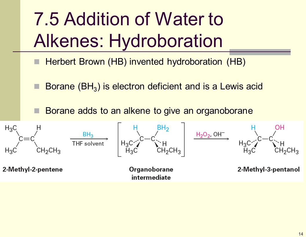 7.5 Addition of Water to Alkenes: Hydroboration